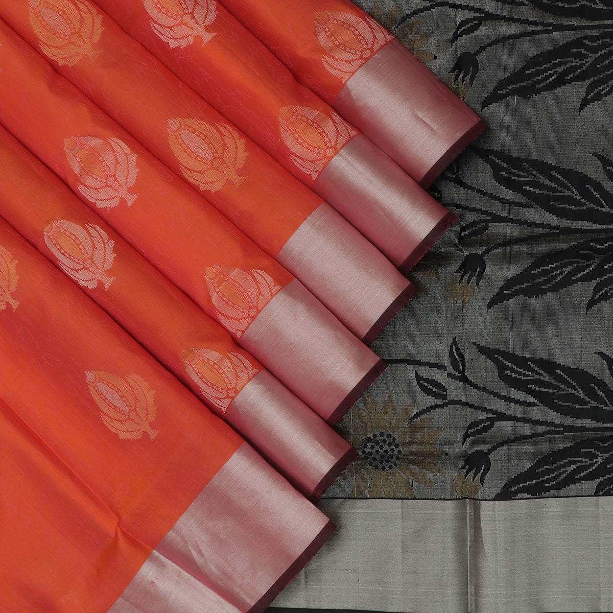 Soft Silk Saree Brick Orange with buttas and Black with Silver Zari border