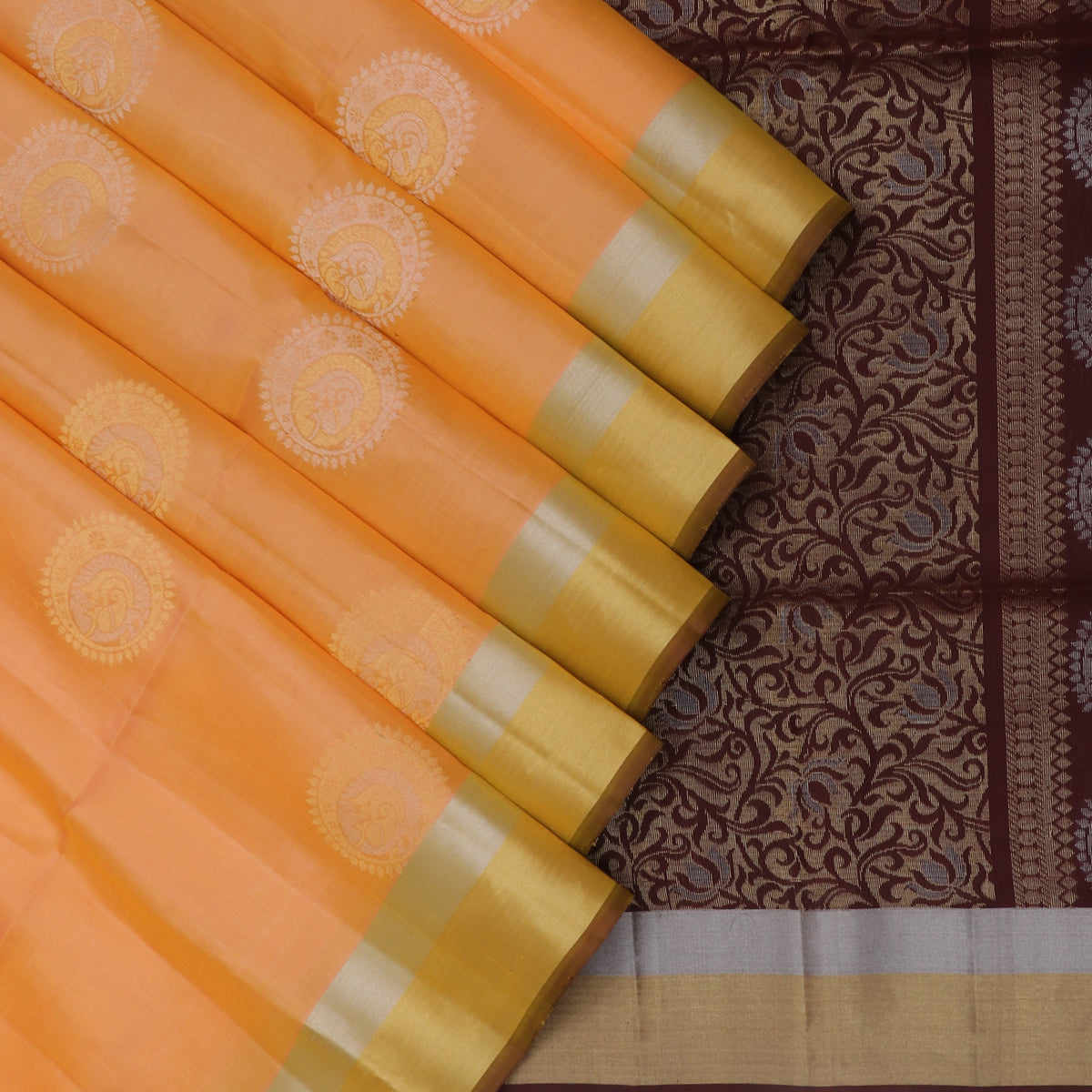Soft Silk Saree Tangerine Orange with buttas and Maroon with Zari border