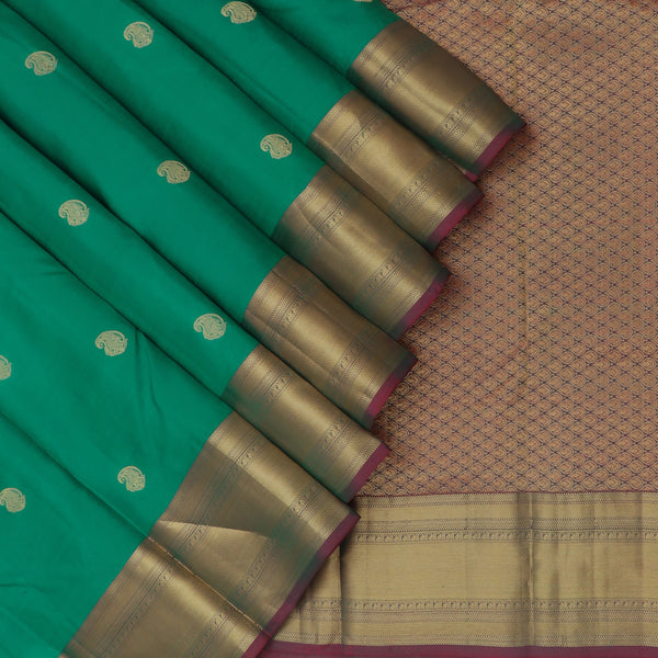 kanjivaram Silk Saree Jade Green and Purple with Zari Border