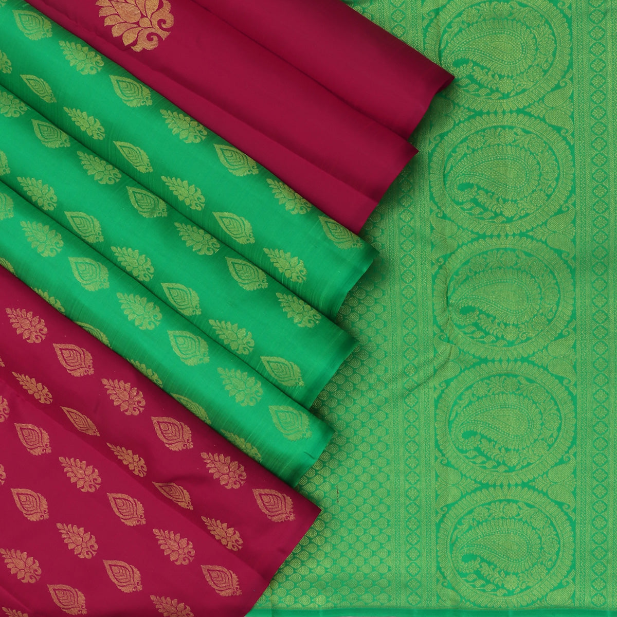 kanjivaram Silk Saree Ruby Color with buttas and Parrot Green with Partly Pallu and Zari Border