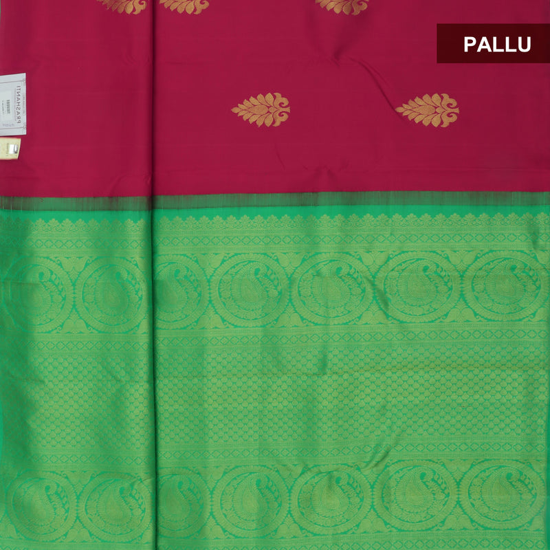 kanjivaram Silk Saree Ruby Color with buttas and Parrot Green with Partly Pallu and Zari Border for Rs.Rs. 11890.00 | Silk Sarees by Prashanti Sarees