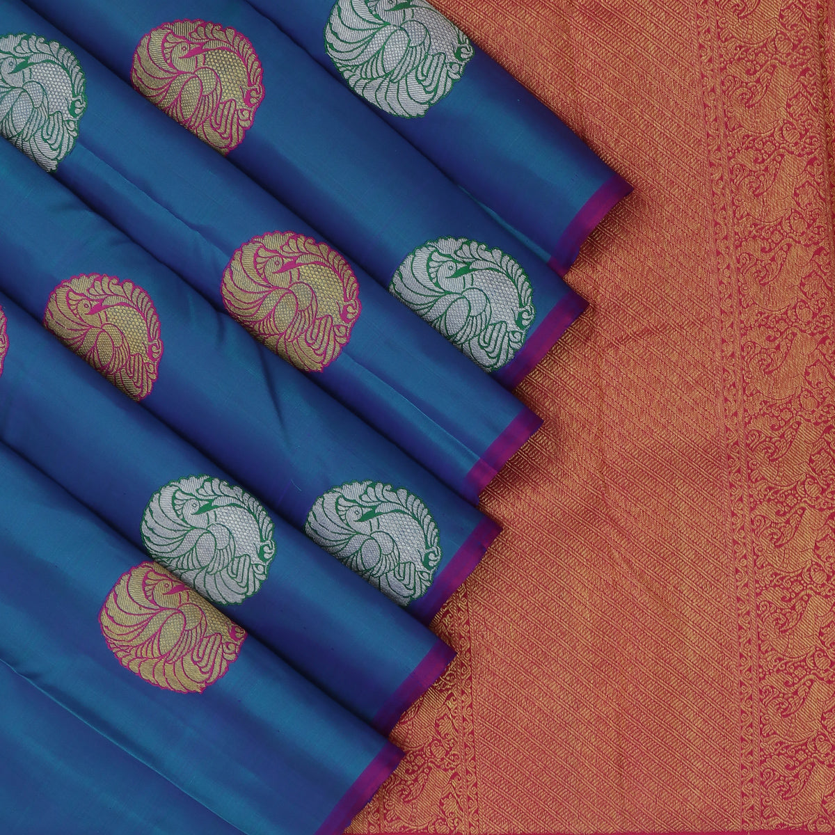 kanjivaram Silk Saree Aegean Blue and Pink with Annam Thread Buttas
