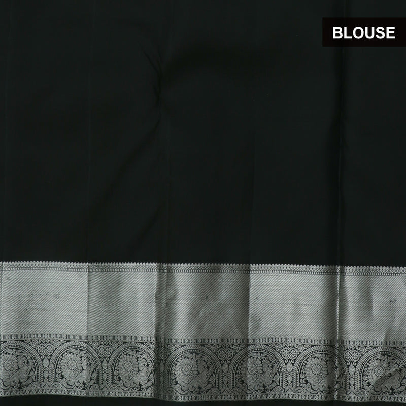 kanjivaram Silk Saree Black with Mango Buttas and Annam Silver Zari Border