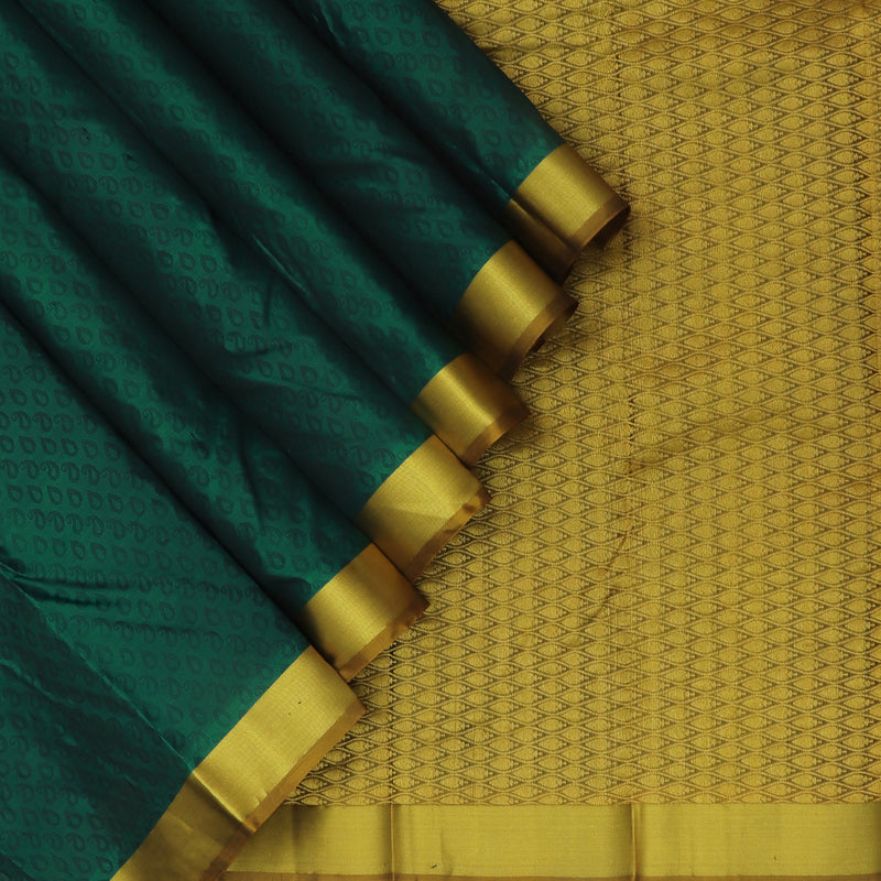 kanjivaram Silk Saree Dark Green with Emboss and Mustard wirh Zari Border
