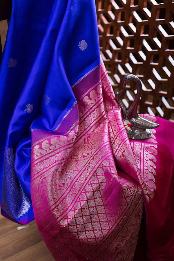 Kanjivaram Silk Saree Blue and Pink with silver zari mandalas on the border