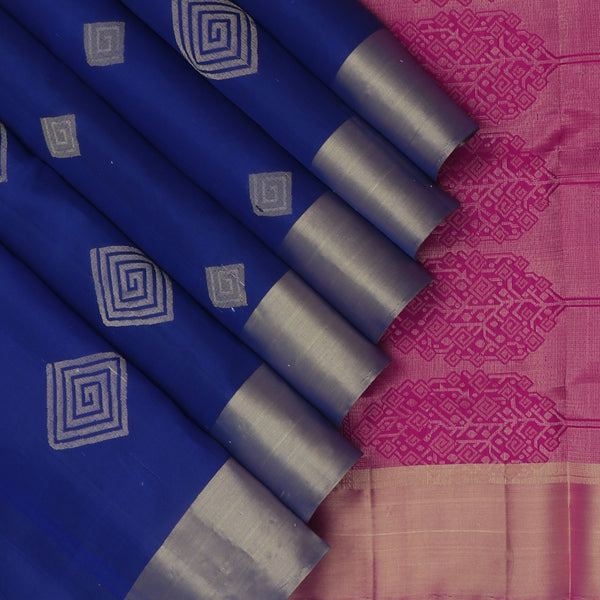Soft silk Saree Blue with Thread Buttas and Zari Border for Rs.Rs. 7075.00 | Silk Sarees by Prashanti Sarees