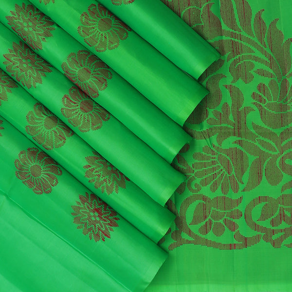 Soft silk Saree Parrot Green with Thread Flower Buttas