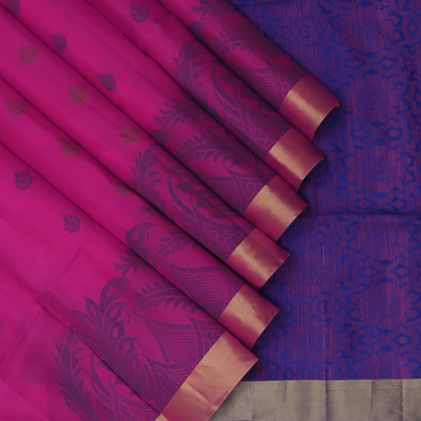 Soft silk Saree Magenta with Flower thread Buttas and zari border