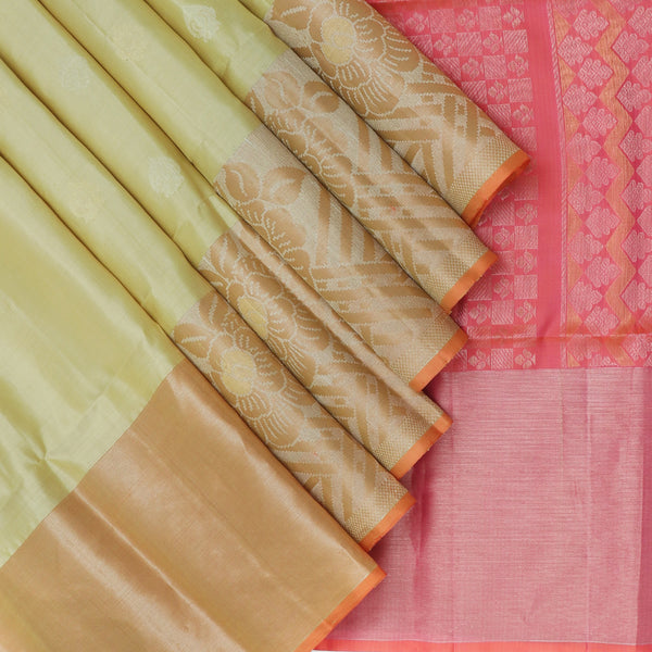 Soft silk Saree Beige with Silver buttas and Peach with Floral Zari border