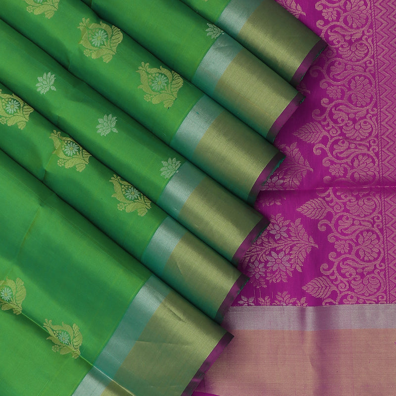 Soft silk Saree Light Green with Gold and Silver buttas and zari Border