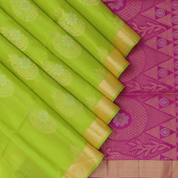 Soft Silk Saree Pear Green with buttas and zari border