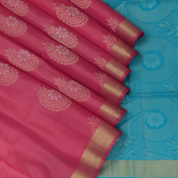 Soft Silk Saree Onion Pink with Zari buttas and Zari border