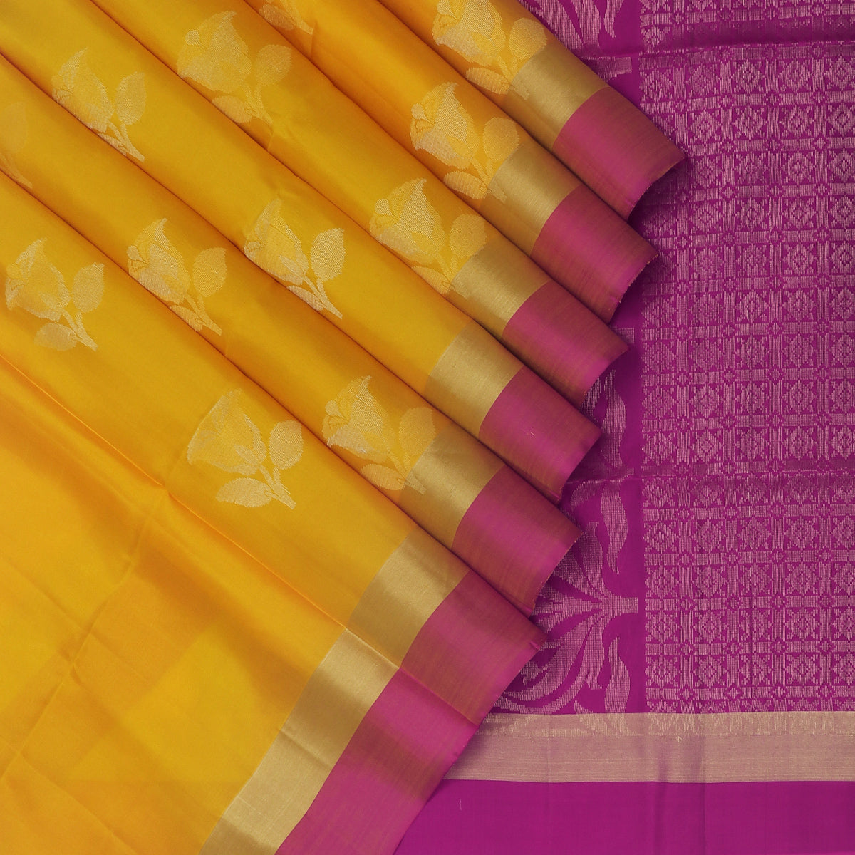 Soft Silk Saree Yellow with Rose Zari buttas and Pink with zari Border