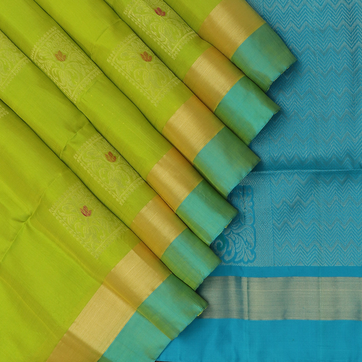 Soft Silk Saree Pear Green with Zari Buttas and Sky Blue with zari border