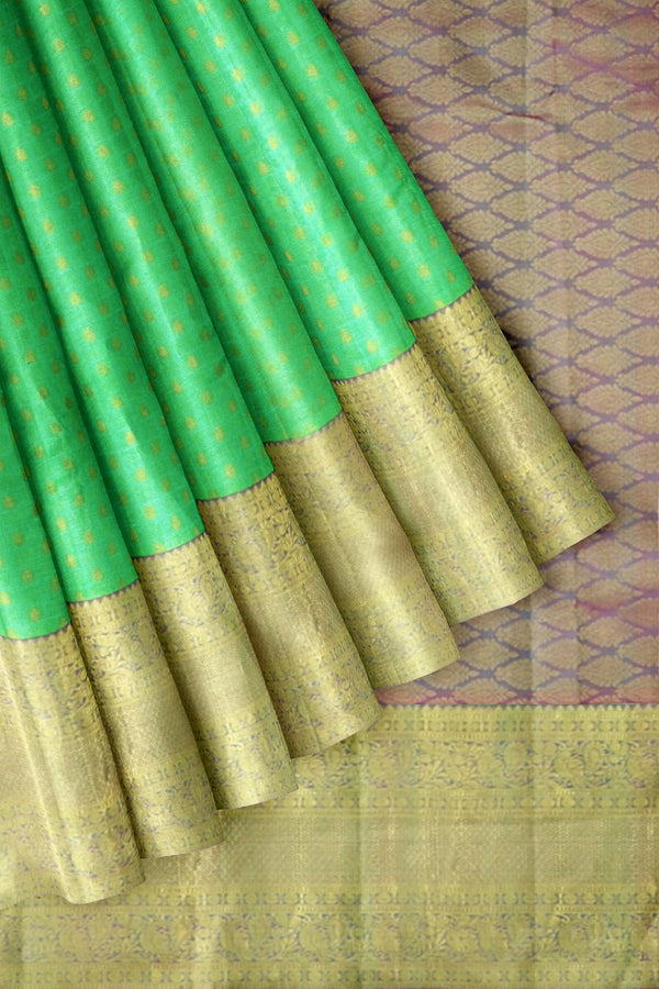 Kanjivaram Silk Saree Light Green with buds Zari buttas and Annam Long zari Border