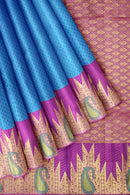 Kanjivaram Silk Saree Dark Sky Blue with embossed and Violet with Temple zari Border
