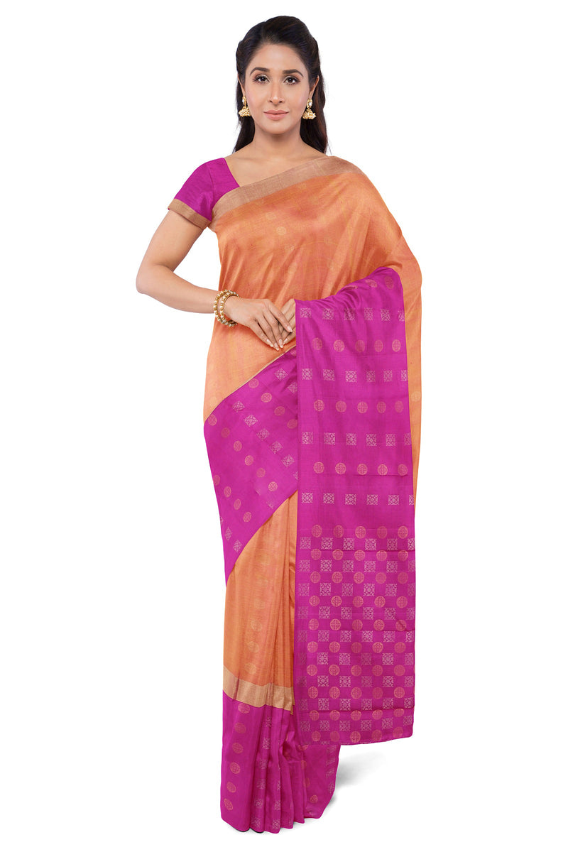 Soft Silk Saree Dual Shade Of Honey Color with Buttas and Pink with Buttas Border