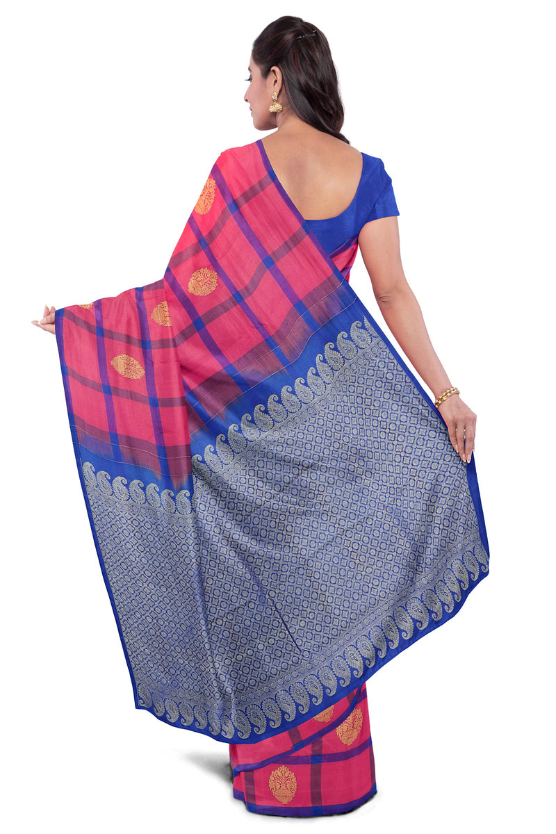 Soft Silk Saree Pink with Blue Line Checked and Flower Pot Buttas