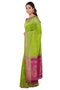 Soft silk saree pear green with pink and thrad floral butta
