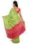 Soft silk saree Pista Green with pink dual tone mango butta