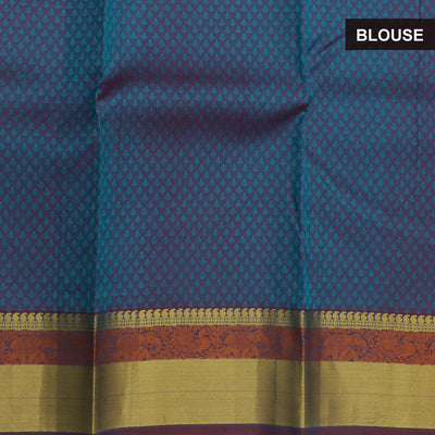 Silk Saree  blue with elephant and Peacock zari border