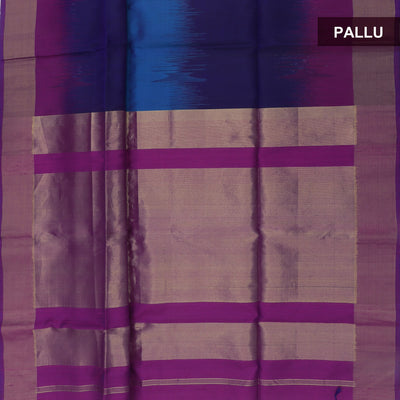 Silk Saree Blue and Purple ikkat design with bavanji border