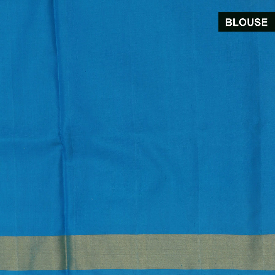 Silk Saree Blue and sky blue with long temple border