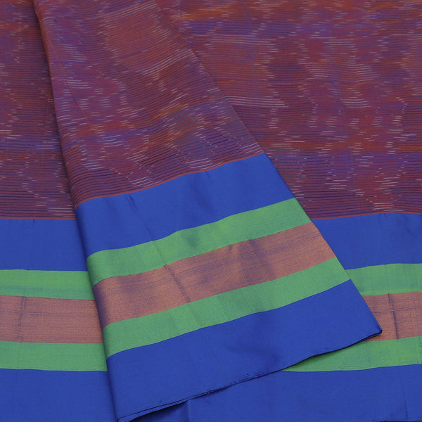 Semi Silk Cotton Saree Blue and green with lines and zari border