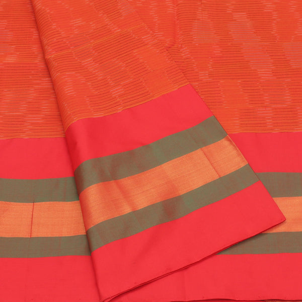 Semi Silk Cotton Saree Orange and Red with lines and simple border