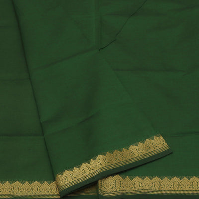 Semi Silk Cotton Saree Green and Maroon with zari border
