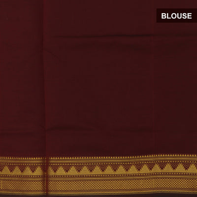 Semi Silk Cotton Saree Peacock blue and Maroon with temple zari border for Rs.Rs. 2100.00 | Semi Silk Cotton by Prashanti Sarees