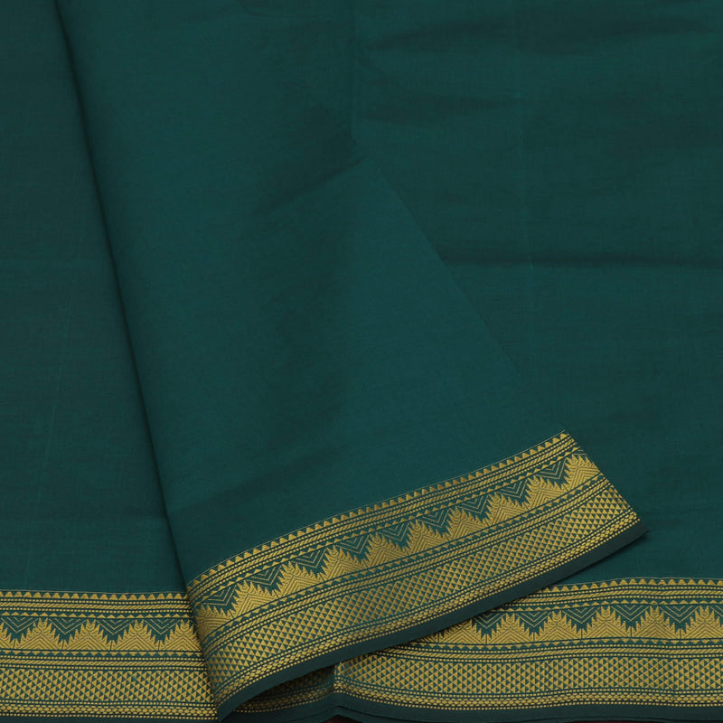 Semi Silk Cotton Saree Peacock blue and Maroon with temple zari border