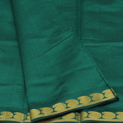 Blended Cotton Saree Green and Maroon with mango zari border 9 yards