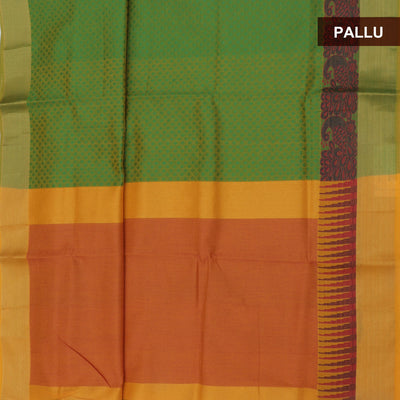 Semi Silk Cotton Saree Light Green and Mustard with Peacock border