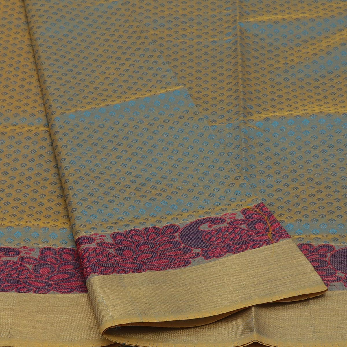 Semi Silk Cotton Saree Sky Blue and Mustard with Peacock border