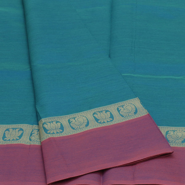 Semi Silk Cotton Saree Sky Blue with Lotus Thread border and Rich Pallu