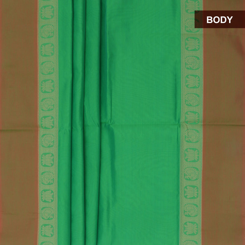 Semi Silk Cotton Saree Green with Lotus Thread border and Rich Pallu