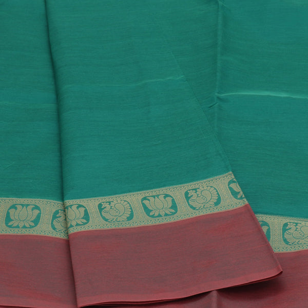Semi Silk Cotton Saree Greenish Blue with Lotus Thread border and Rich Pallu