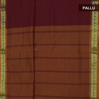 Blended Cotton Saree Dark Maroon and Mustard with Temple zari border