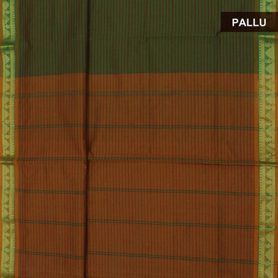 Blended Cotton Saree Green and Mustard with Temple zari border