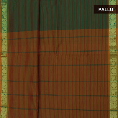 Blended Cotton Saree Green and Mustard with Coin Zari border