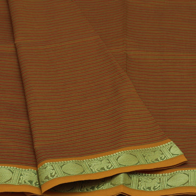 Blended Cotton Saree Mustard and Maroon with Coin Zari border
