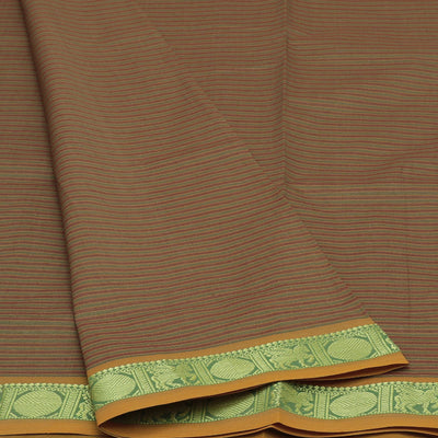Blended Cotton Saree Light Brown and Green with Coin Zari border