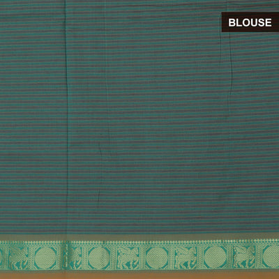 Blended Cotton Saree Blue and Green with Coin Zari border