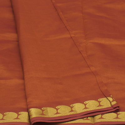 Blended Cotton Saree Mustard and Purple with Mango zari border 9 yards