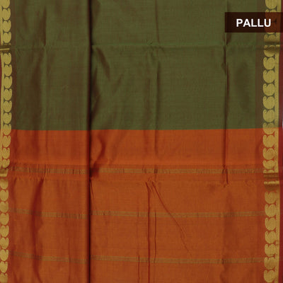 Blended Cotton Saree Pale Green and Mustard with Mango zari border 9 yards