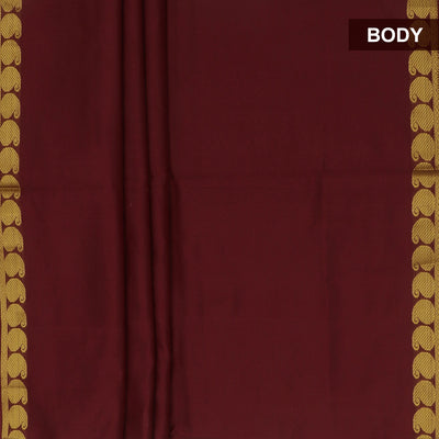 Blended Cotton Saree Maroon and Mustard with Mango zari border 9 yards for Rs.Rs. 1680.00 | by Prashanti Sarees