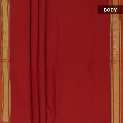 Blended Cotton Saree Maroon and Green with zari border 9 yards