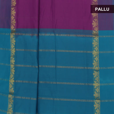 Blended Cotton Saree Pink and Blue with leaf zari border 9 yards