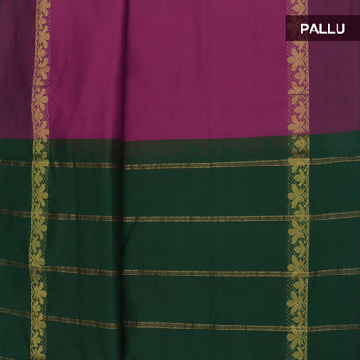 Blended Cotton Saree Pink and Green with leaf zari border 9 yards